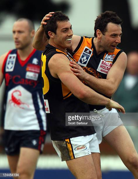Ben McKinley of the Tigers celebrates after kicking a goal during the VFL Semi Final match between the Casey Scorpions and the Werribee Tigers at...