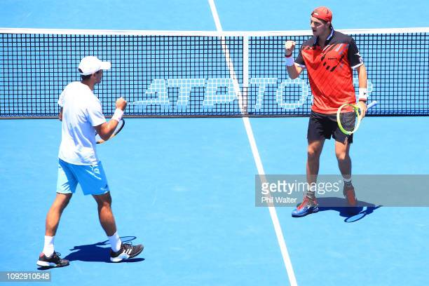 Ben McLachlan of Japan and JanLennard Struff of Germany celebrate winning the Mens Doubles final against Michael Venus of New Zealand and Raven...
