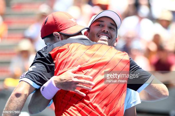 Ben McLachlan of Japan and JanLennard Struff of Germany celebrate after winning the Mens Doubles final against Michael Venus of New Zealand and Raven...