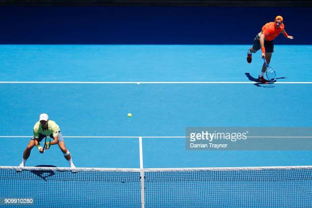 Ben McLachlan of Japan and JanLennard Struff of Germany compete in their men's doubles semifinal match against Oliver Marach of Austria and Mate...