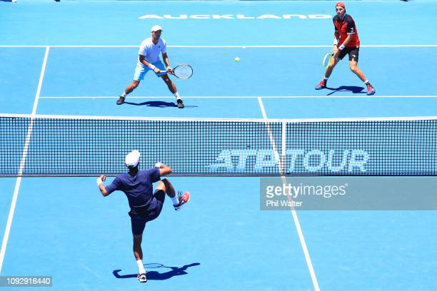 Ben McLachlan of Japan and JanLennard Struff of Germany in action during their Mens Doubles final against Michael Venus of New Zealand and Raven...