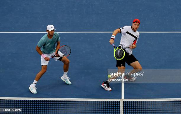 Ben McLachlan of Japan and JanLennard Struff of Germany in action during their Men's Doubles Final match against Rajeev Ram of the United States and...