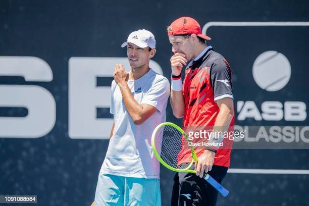 Ben McLachlan of Japan with his partner JanJennard Struff of Germany play Lukasz Kubot of Poland and Horacio Zeballos of Argentina in their doubles...