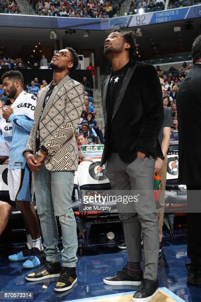 Ben McLemore and Wayne Selden of the Memphis Grizzlies look on from the bench during the game against the Orlando Magic on November 1 2017 at...