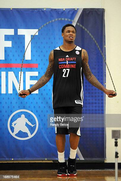 Ben McLemore keeps loose by jumping rope while he waits for his turn on Day 2 of the 2013 NBA Draft Combine on May 17 2013 at Quest Multiplex in...