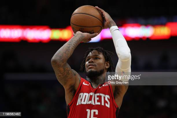 Ben McLemore of the Houston Rockets shoots a free throw against the New Orleans Pelicans at Smoothie King Center on December 29 2019 in New Orleans...