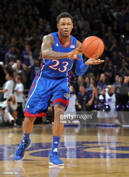 Ben McLemore of the Kansas Jayhawks makes a pass against the Kansas State Wildcats during the first half on January 22, 2013 at Bramlage Coliseum in...