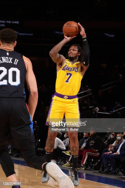 Ben McLemore of the Los Angeles Lakers shoots a three point basket during the game against the New York Knicks on April 12, 2021 at Madison Square...