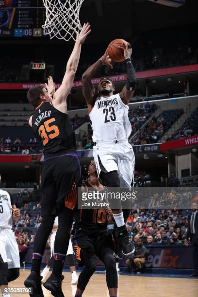 Ben McLemore of the Memphis Grizzlies drives to the basket against the Phoenix Suns on February 28 2018 at FedExForum in Memphis Tennessee NOTE TO...