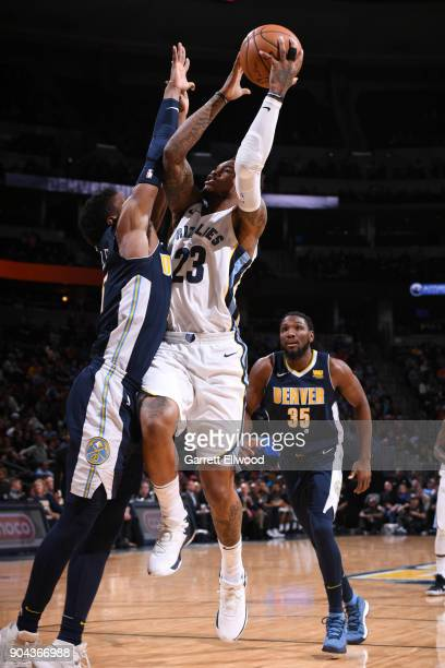 Ben McLemore of the Memphis Grizzlies goes to the basket against the Denver Nuggets on January 12 2018 at the Pepsi Center in Denver Colorado NOTE TO...