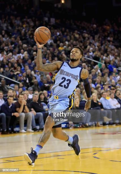 Ben McLemore of the Memphis Grizzlies goes up for a dunk against the Golden State Warriors at ORACLE Arena on December 20 2017 in Oakland California...