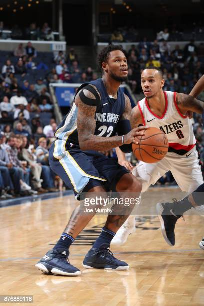Ben McLemore of the Memphis Grizzlies handles the ball against the Portland Trail Blazers handles the ball against the Portland Trail Blazers on...