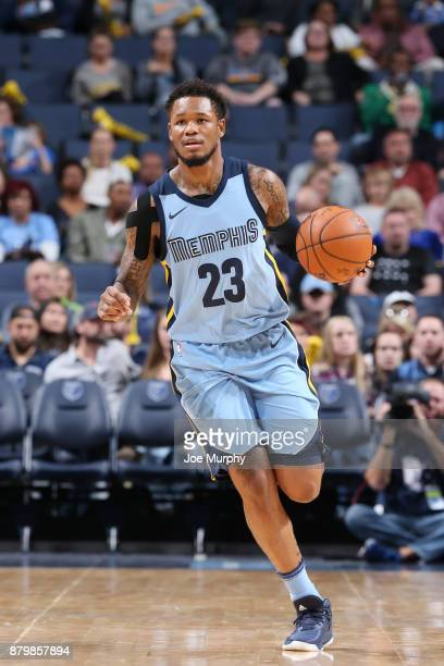 Ben McLemore of the Memphis Grizzlies handles the ball against the Brooklyn Nets on November 26 2017 at FedExForum in Memphis Tennessee NOTE TO USER...
