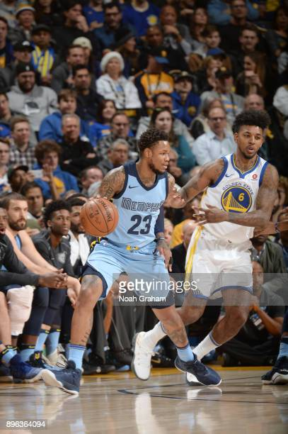 Ben McLemore of the Memphis Grizzlies handles the ball against the Golden State Warriors on December 20 2017 at ORACLE Arena in Oakland California...
