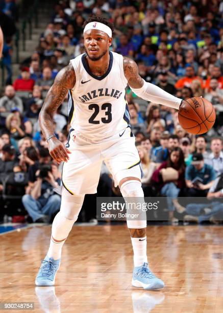 Ben McLemore of the Memphis Grizzlies handles the ball against the Dallas Mavericks on March 10 2018 at the American Airlines Center in Dallas Texas...