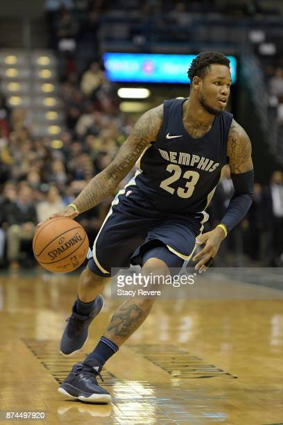 Ben McLemore of the Memphis Grizzlies handles the ball during a game against the Milwaukee Bucks at the Bradley Center on November 13 2017 in...
