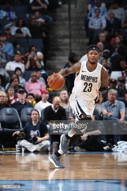 Ben McLemore of the Memphis Grizzlies handles the ball during the game against the Chicago Bulls on March 15 2018 at FedExForum in Memphis Tennessee...