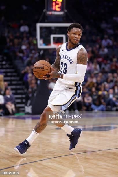 Ben McLemore of the Memphis Grizzlies looks to pass the ball against the Sacramento Kings at Golden 1 Center on December 31 2017 in Sacramento...