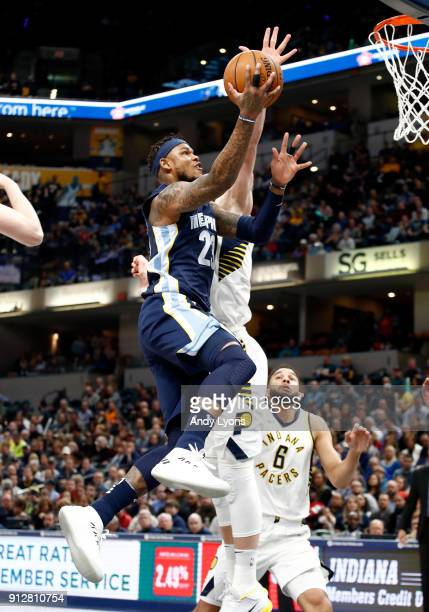 Ben McLemore of the Memphis Grizzlies shoots the ball against the Indiana Pacers during the game at Bankers Life Fieldhouse on January 31 2018 in...