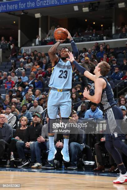 Ben McLemore of the Memphis Grizzlies shoots the ball against the Detroit Pistons on April 8 2018 at FedExForum in Memphis Tennessee NOTE TO USER...