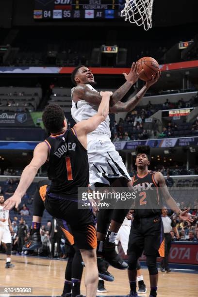 Ben McLemore of the Memphis Grizzlies shoots the ball during the game against the Phoenix Suns on February 28 2018 at FedExForum in Memphis Tennessee...
