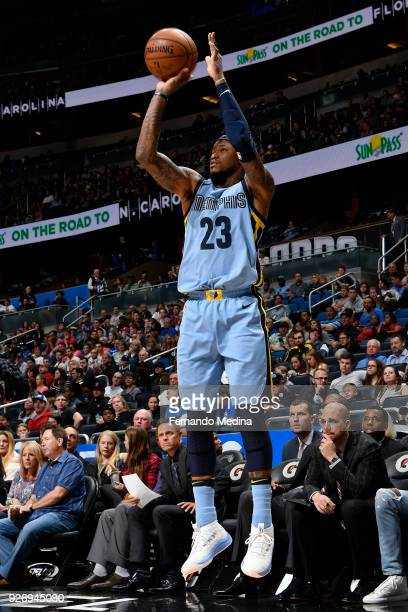 Ben McLemore of the Memphis Grizzlies shoots the ball during the game against the Orlando Magic on March 23 2018 at Amway Center in Orlando Florida...