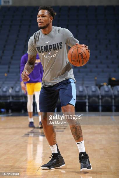 Ben McLemore of the Memphis Grizzlies wamrs up before the game against the Los Angeles Lakers on January 15 2018 at FedExForum in Memphis Tennessee...