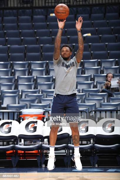 Ben McLemore of the Memphis Grizzlies warms up before the game against the San Antonio Spurs on December 1 2017 at FedExForum in Memphis Tennessee...