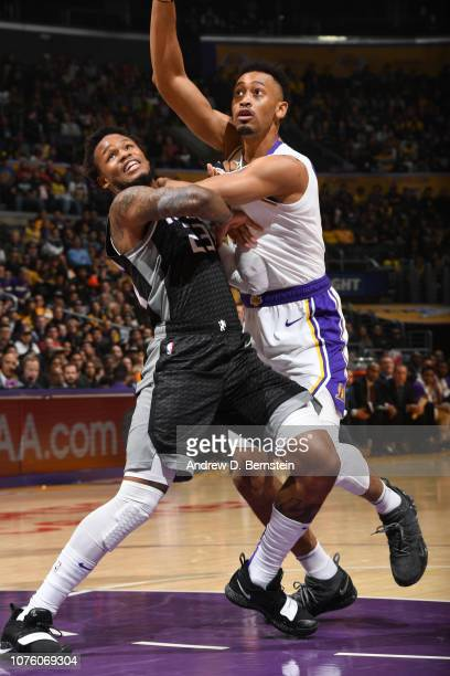 Ben McLemore of the Sacramento Kings and Johnathan Williams of the Los Angeles Lakers fights for position on December 30 2018 at STAPLES Center in...