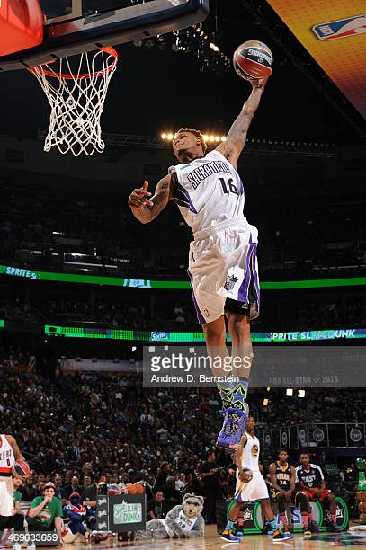 Ben McLemore of the Sacramento Kings attempts a dunk during the Sprite Slam Dunk Contest on State Farm AllStar Saturday Night as part of the 2014...