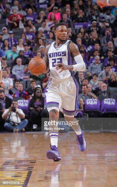 Ben McLemore of the Sacramento Kings brings the ball up the court against the Phoenix Suns on April 11 2017 at Golden 1 Center in Sacramento...