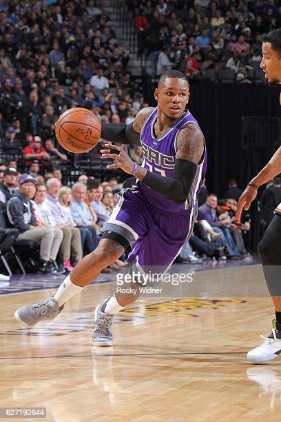 Ben McLemore of the Sacramento Kings drives against the Oklahoma City Thunder on November 23 2016 at Golden 1 Center in Sacramento California NOTE TO...