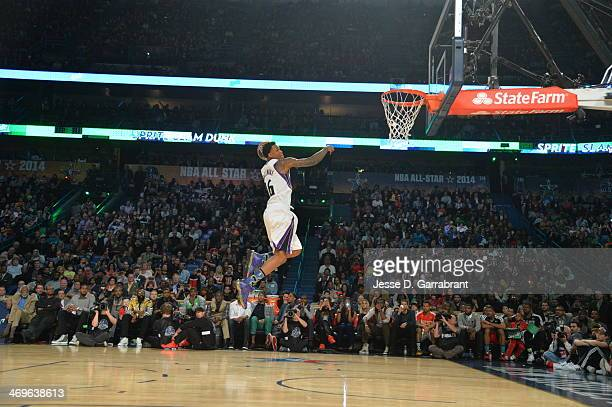 Ben McLemore of the Sacramento Kings dunks the ball during the Sprite Slam Dunk Contest on State Farm AllStar Saturday Night as part of the 2014...