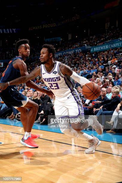 Ben McLemore of the Sacramento Kings handles the ball against the Oklahoma City Thunder on October 21 2018 at Chesapeake Energy Arena in Oklahoma...
