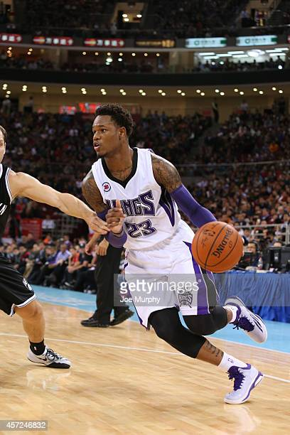 Ben McLemore of the Sacramento Kings handles the ball against the Brooklyn Nets during the 2014 NBA Global Games at the MasterCard Center on October...