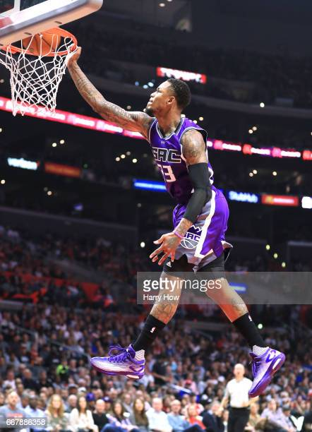 Ben McLemore of the Sacramento Kings misses a breakaway dunk during a 11595 loss to the LA Clippers at Staples Center on April 12 2017 in Los Angeles...