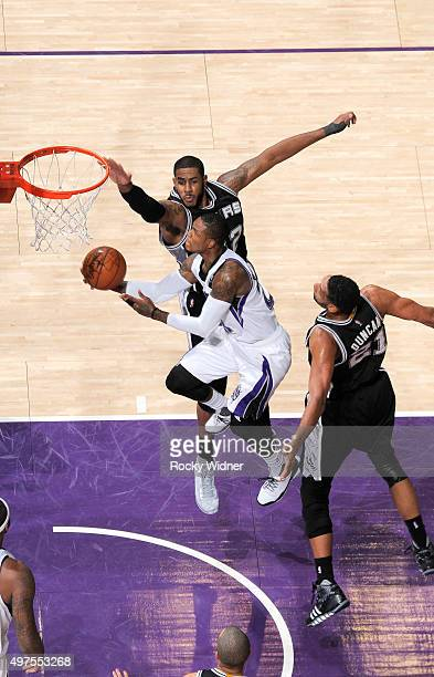 Ben McLemore of the Sacramento Kings puts up a shot against LaMarcus Aldridge of the San Antonio Spurs on November 9 2015 at Sleep Train Arena in...