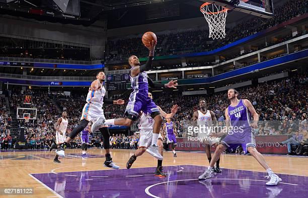 Ben McLemore of the Sacramento Kings shoots a layup against the Oklahoma City Thunder on November 23, 2016 at Golden 1 Center in Sacramento,...