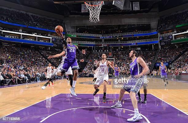 Ben McLemore of the Sacramento Kings shoots a layupa gainst the Oklahoma City Thunder on November 23 2016 at Golden 1 Center in Sacramento California...