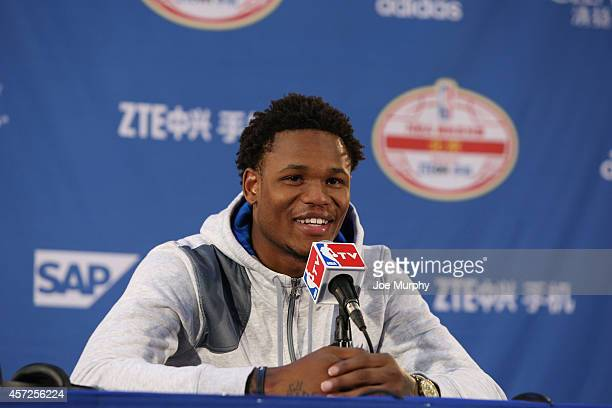 Ben McLemore of the Sacramento Kings speaks to the media after the game against the Brooklyn Nets as part of the 2014 NBA Global Games at the...