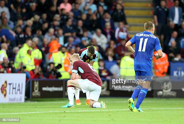 Ben Mee of Burnley after scoring an own goal to make it 30 during the Premier League match between Leicester City and Burnley at the King Power...