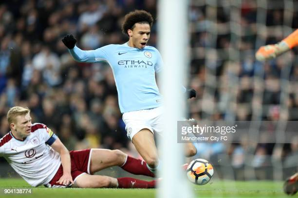 Ben Mee of Burnley can't stop Leroy Sane of Manchester City scoring during the match between Manchester City and Burnley at Etihad Stadium on January...