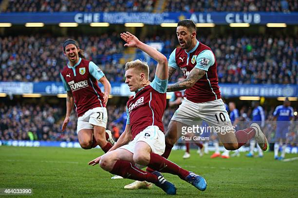 Ben Mee of Burnley celebrates after scoring a goal to level the scores at 11 during the Barclays Premier League match between Chelsea and Burnley at...