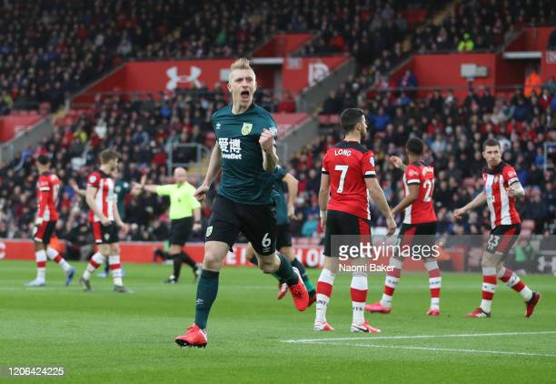 Ben Mee of Burnley celebrates after scoring his team's first goal during the Premier League match between Southampton FC and Burnley FC at St Mary's...