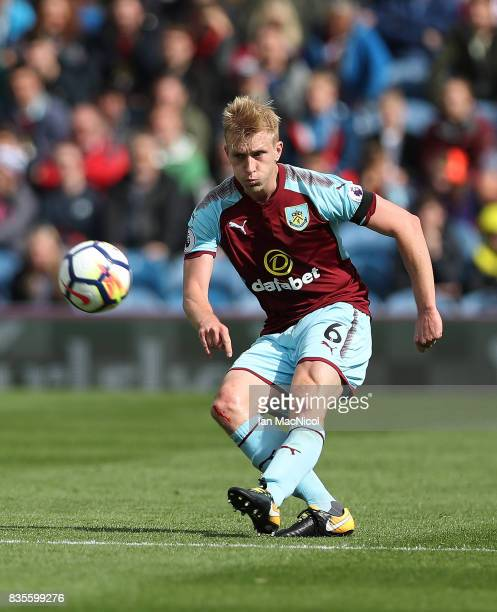 Ben Mee of Burnley controls the ball during the Premier League match between Burnley and West Bromwich Albion at Turf Moor on August 19 2017 in...
