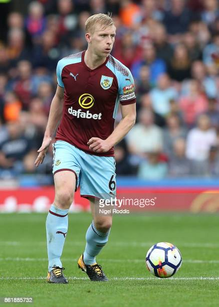 Ben Mee of Burnley during the Premier League match between Burnley and West Ham United at Turf Moor on October 14 2017 in Burnley England