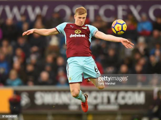 Ben Mee of Burnley during the Premier League match between Swansea City and Burnley at Liberty Stadium on February 10 2018 in Swansea Wales