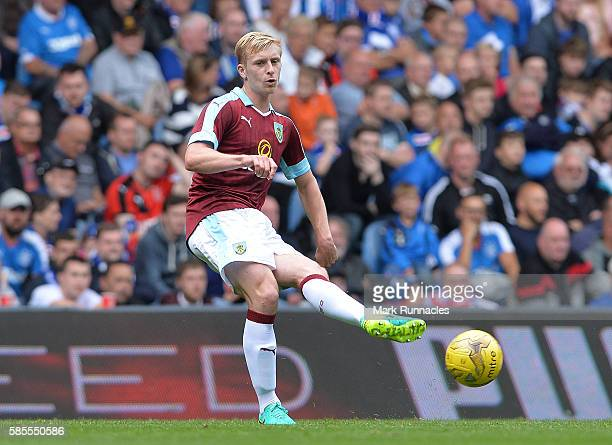 Ben Mee of Burnley in action during a preseason friendly between Rangers FC and Burnley FC at Ibrox Stadium on July 30 2016 in Glasgow Scotland