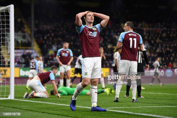 Ben Mee of Burnley reacts after a missed chance during the Premier League match between Burnley FC and Newcastle United at Turf Moor on November 26...