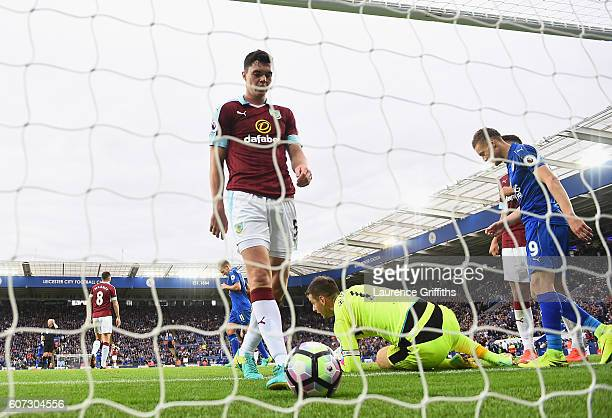 Ben Mee of Burnley scores a own goal for Leicester City thirds during the Premier League match between Leicester City and Burnley at The King Power...